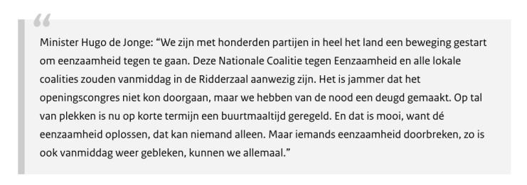 Minister Hugo de Jonge over Nationale Coalitie tegen Eenzaamheid via Neo's Blog