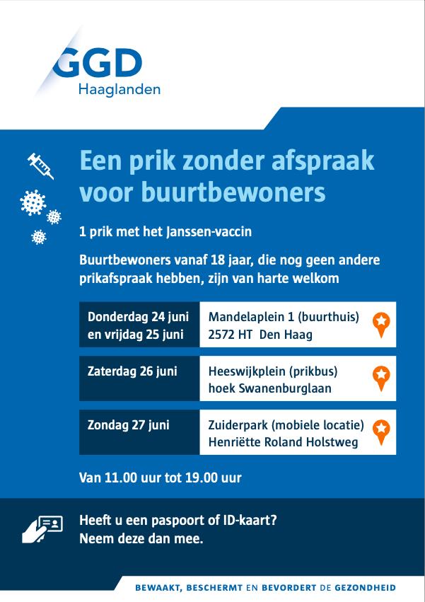 GRATIS vaccineren 26 juni op HeeswijkpleinMoerwijk-Oost